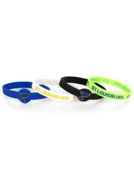 St Louis Blues Kids 4pk Silicone Emblem Bracelet - Blue