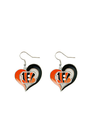 Cincinnati Bengals Heart Swirl Womens Earrings