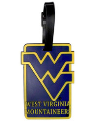 West Virginia Mountaineers Rubber Luggage Tag - Navy Blue