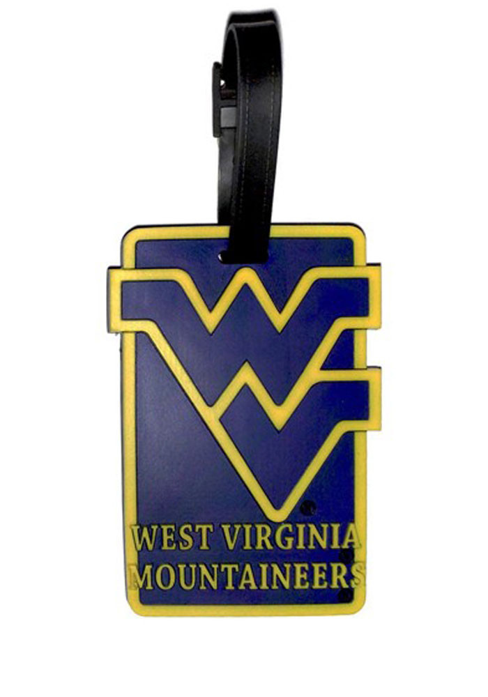 West Virginia Mountaineers Navy Blue Rubber Luggage Tag - Image 1