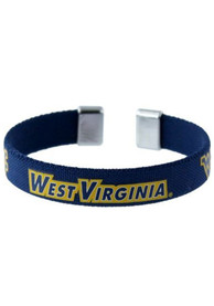 West Virginia Mountaineers Womens Ribbon Bracelet - Navy Blue