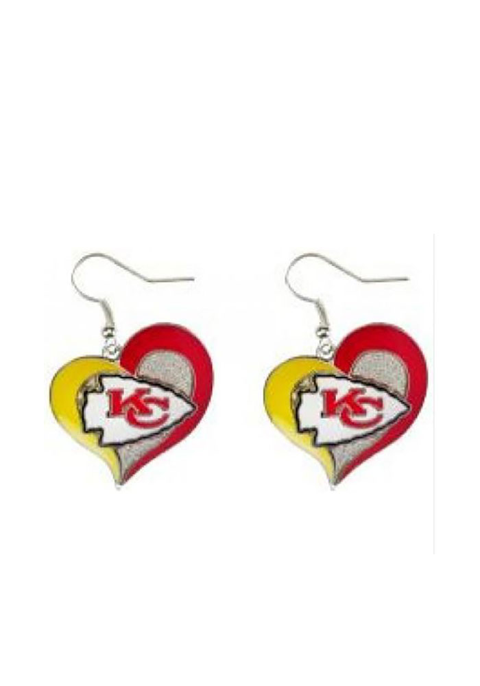 Kansas City Chiefs Swirl Heart Womens Earrings - Image 1