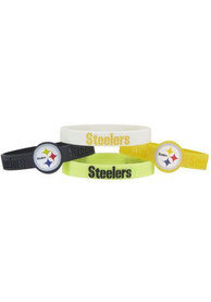 Pittsburgh Steelers Kids 4pk Silicone Emblem Bracelet - Yellow