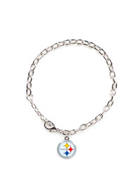 Pittsburgh Steelers Womens Team Logo Bracelet - Silver