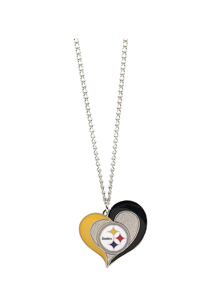 Pittsburgh Steelers Womens Heart Swirl Necklace - Silver