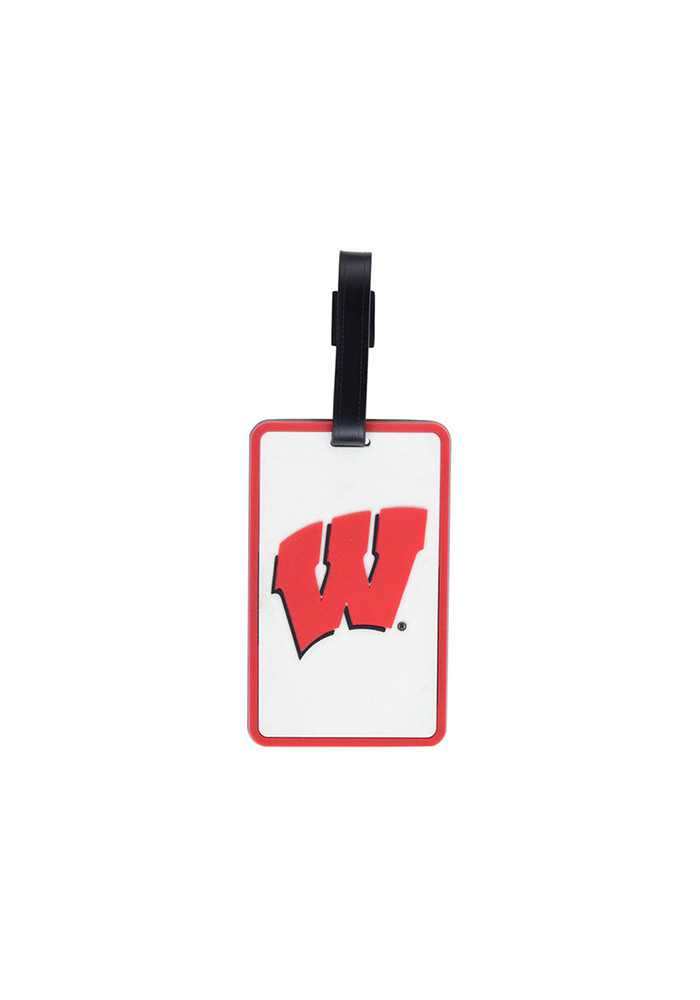 Wisconsin Badgers Red Rubber Luggage Tag - Image 1