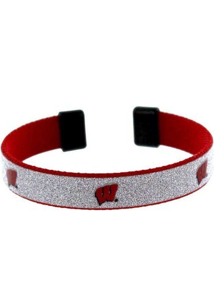Wisconsin Badgers Silver Sparkle Womens Bracelet - Image 1