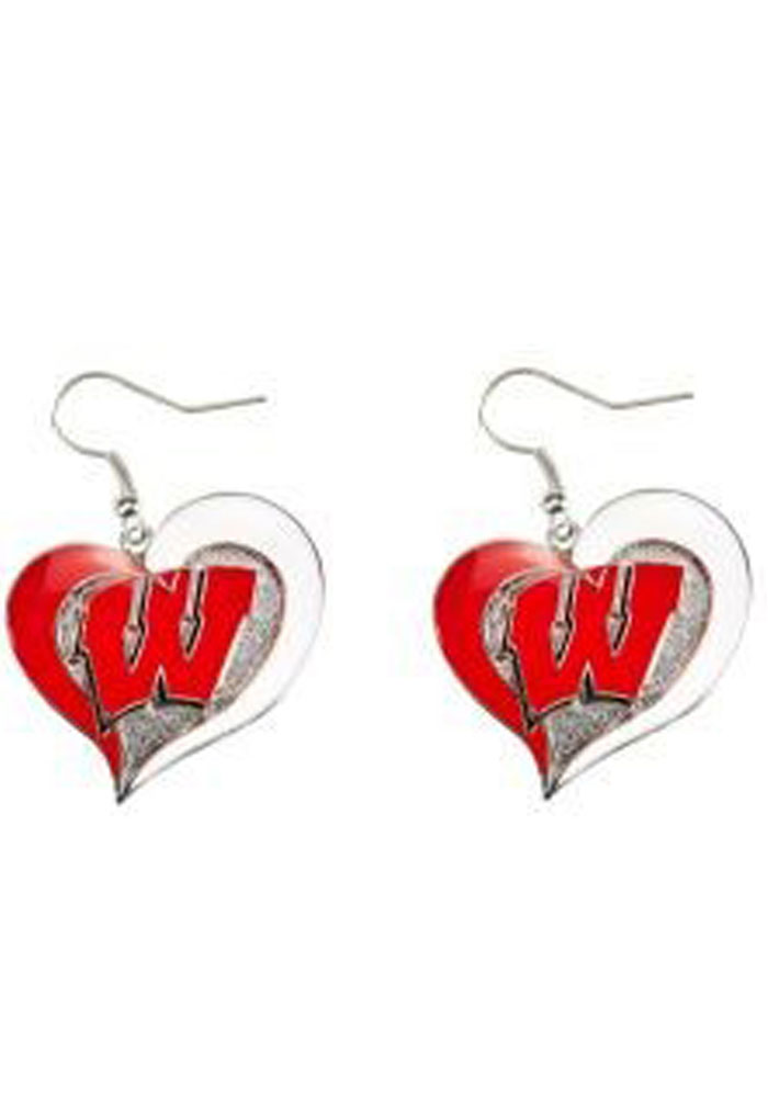 Wisconsin Badgers Swirl Heart Womens Earrings - Image 1