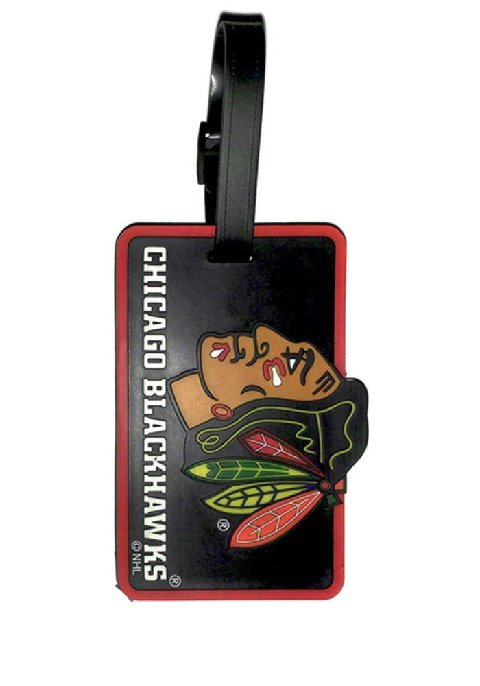 Chicago Blackhawks Red Rubber Luggage Tag - Image 1