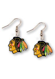 Chicago Blackhawks Womens Logo Dangler Earrings - Red
