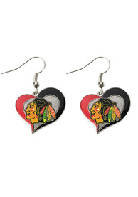 Chicago Blackhawks Womens Swirl Heart Earrings - Red