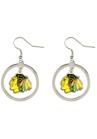 Chicago Blackhawks Womens Floating Hoop Earrings - Silver