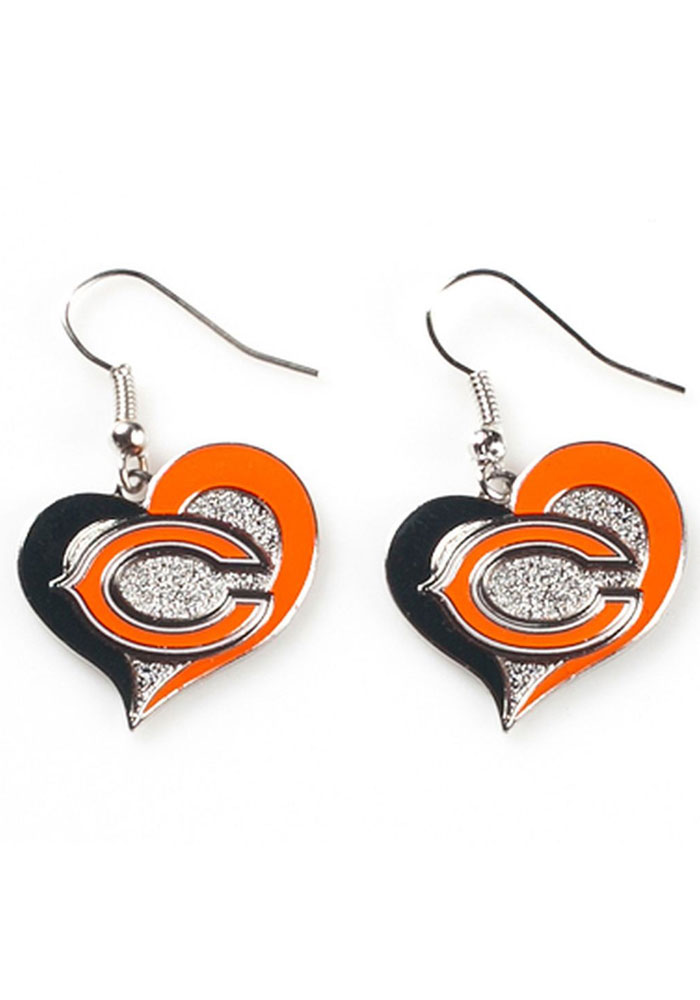 Chicago Bears Womens Swirl Heart Earrings - Silver