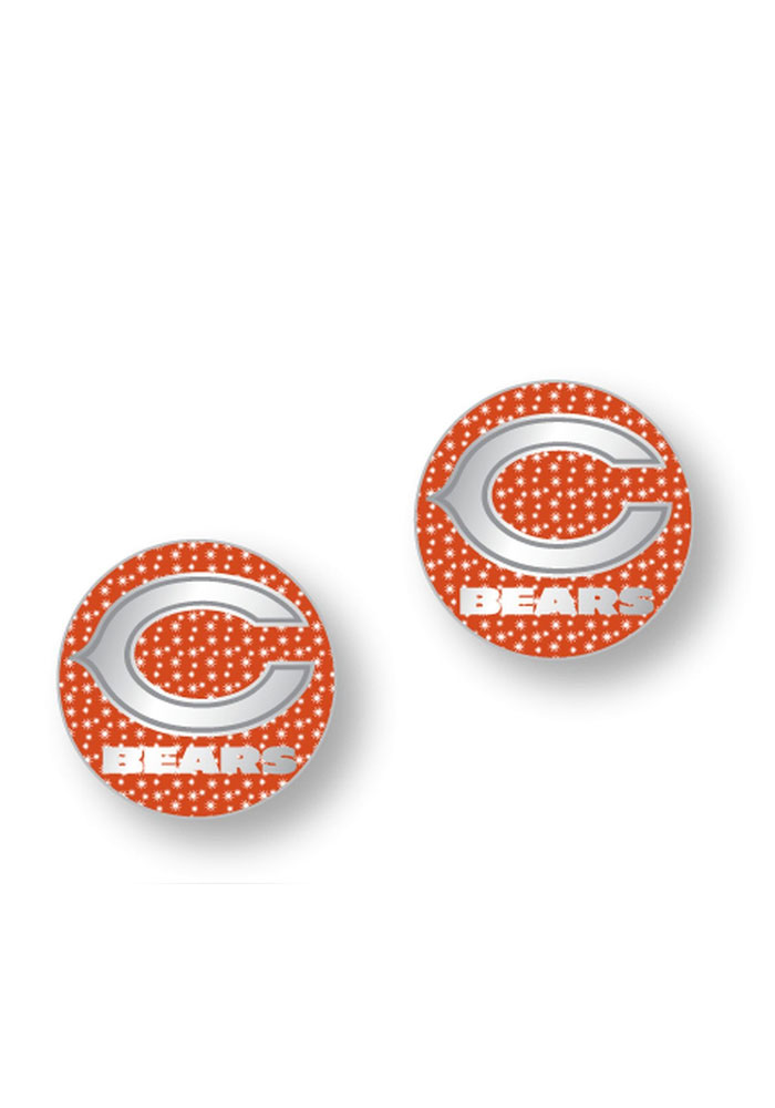 Chicago Bears Womens Glitter Post Earrings - Orange