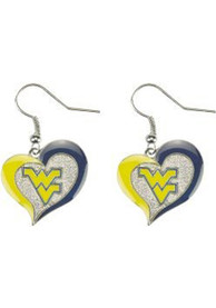 West Virginia Mountaineers Womens Swirl Heart Earrings - Navy Blue