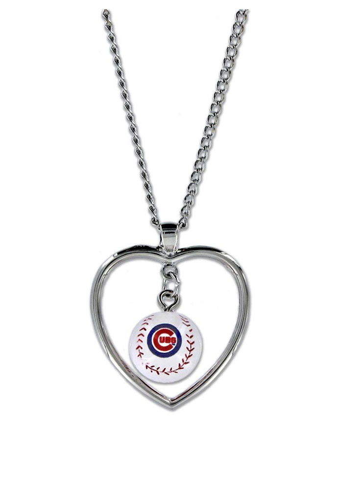 Chicago Cubs Baseball in Heart Necklace - Image 1
