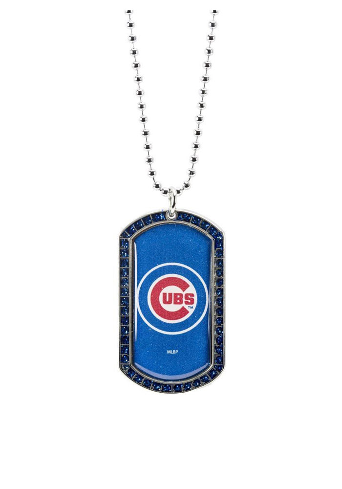 Chicago Cubs Glitter Dog Tag Necklace - Image 1