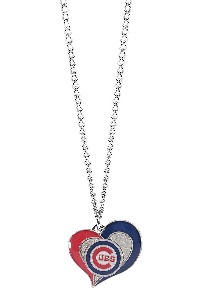 Chicago Cubs Heart Swirl Necklace - Image 1