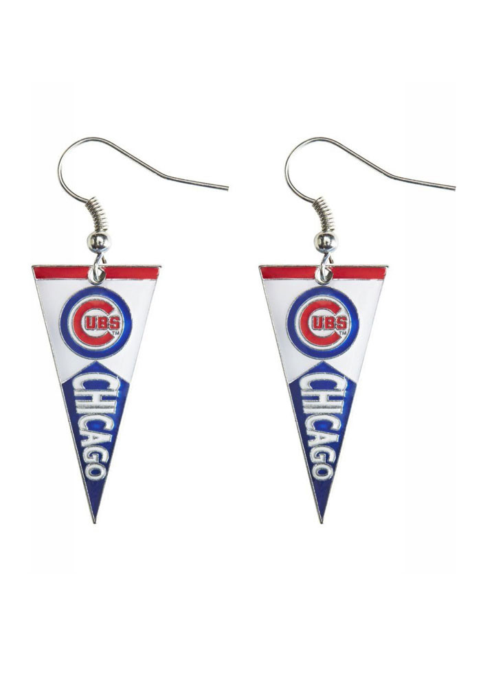 Chicago Cubs Pennant Womens Earrings - Image 1