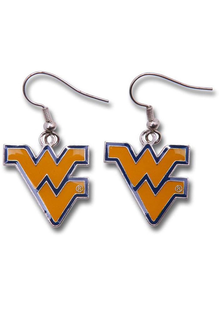 West Virginia Mountaineers Logo Dangler Womens Earrings - Image 1