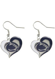 Penn State Nittany Lions Womens Swirl Heart Earrings - Navy Blue