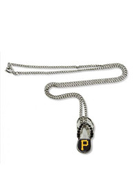 Pittsburgh Pirates Womens Flip Flop Necklace - Silver