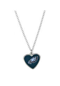 Philadelphia Eagles Womens Heart Necklace - Midnight Green
