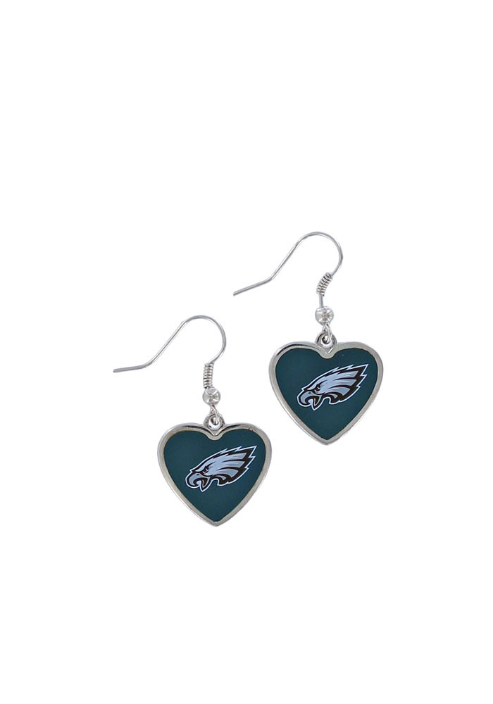 Philadelphia Eagles Heart Logo Womens Earrings - Image 1