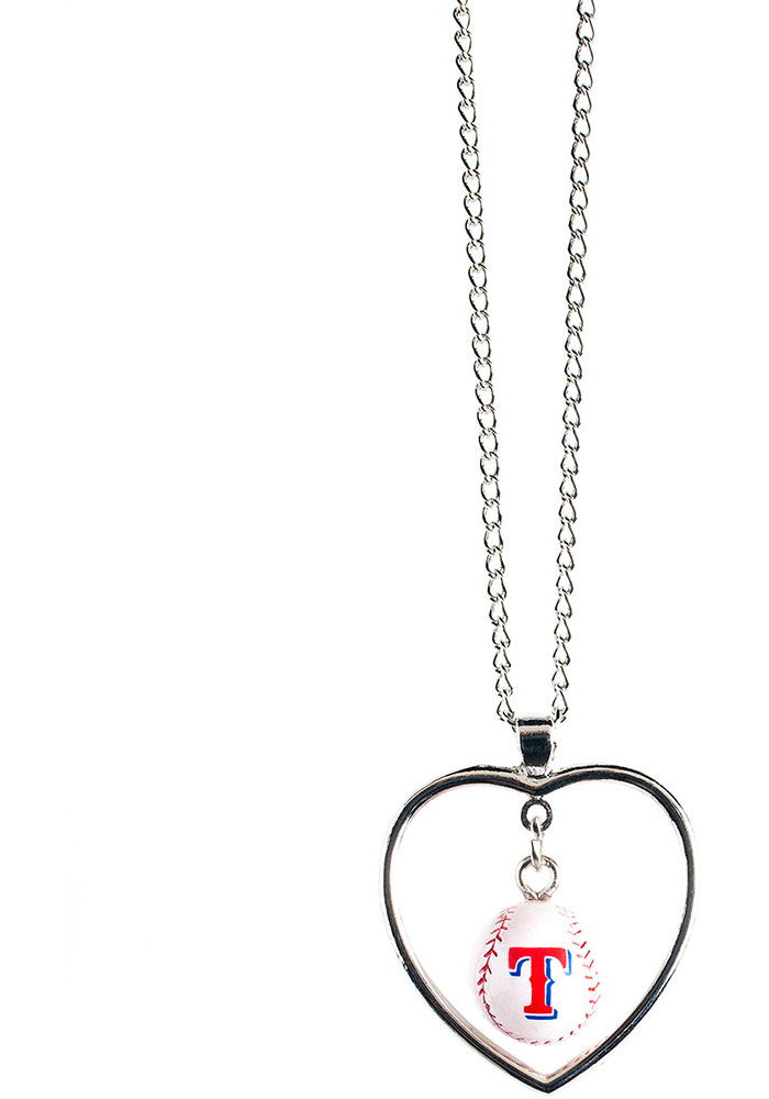 Texas Rangers Baseball in Heart Necklace - Image 1
