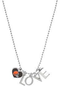 Cleveland Browns Womens Logo Charm Necklace - Orange