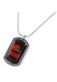 Cleveland Browns Womens Glitter Dog Tag Necklace - Silver