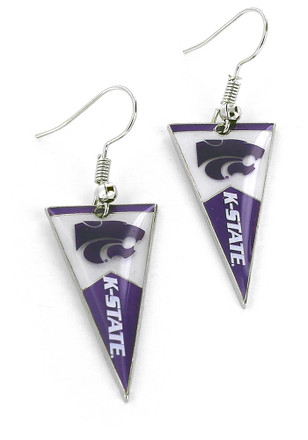 K-State Wildcats Pennant Womens Earrings