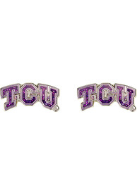 TCU Horned Frogs Womens Glitter Post Earrings - Purple
