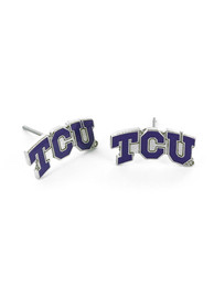 TCU Horned Frogs Womens Logo Post Earrings - Purple