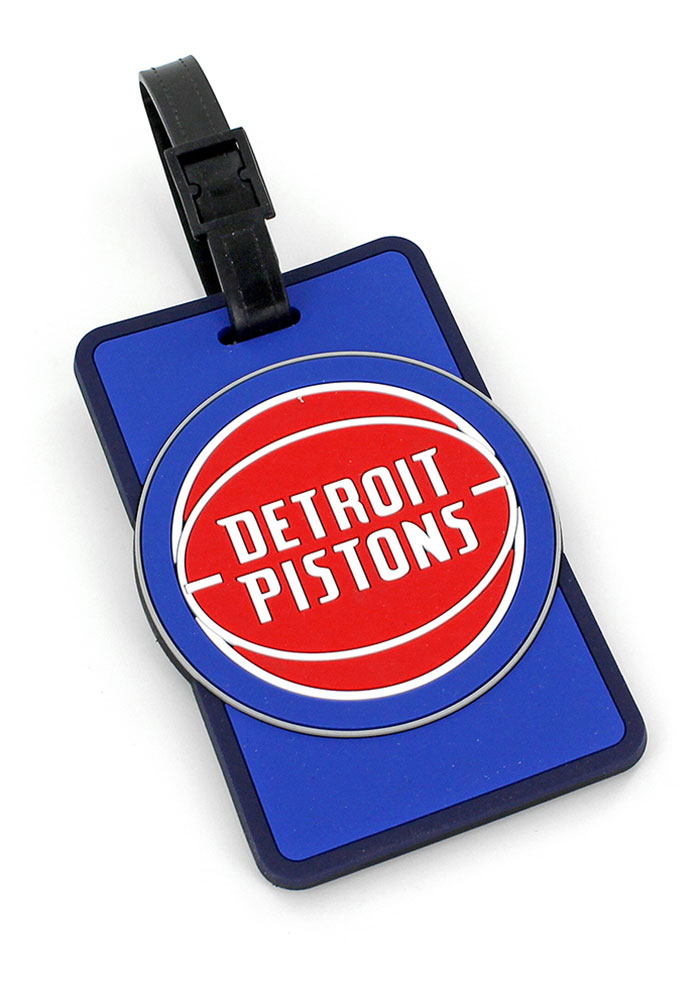 Detroit Pistons Red Rubber Luggage Tag - Image 1