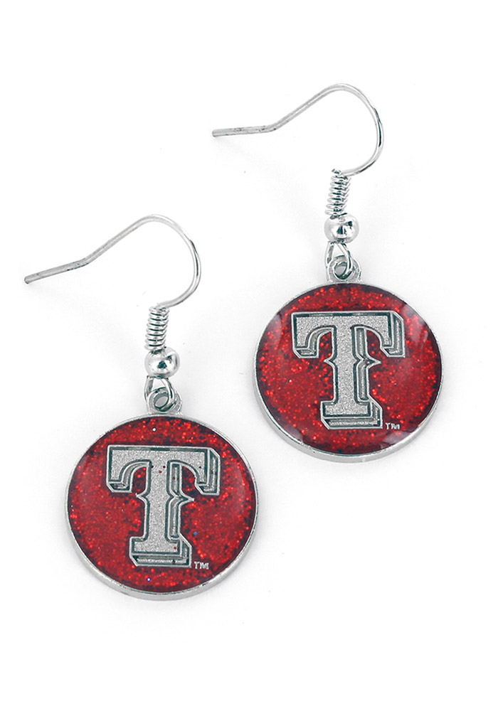Texas Rangers Glitter Dangler Womens Earrings - Image 1