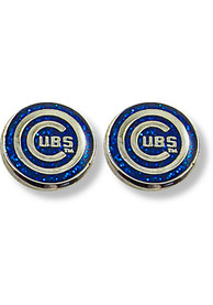 Chicago Cubs Womens Glitter Post Earrings - Blue