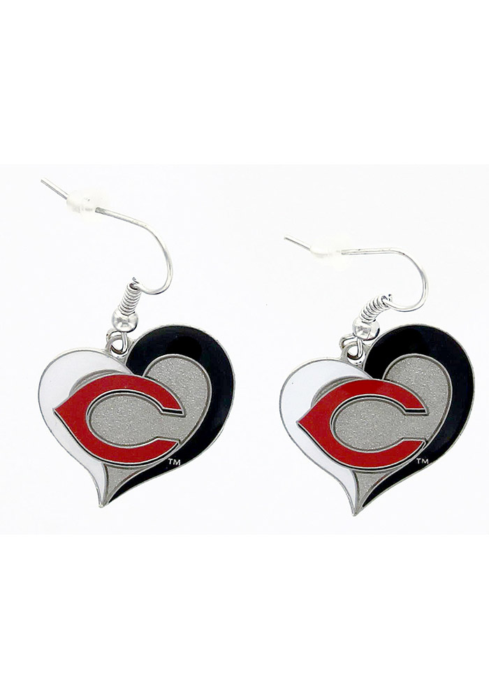 Cincinnati Reds Swirl Heart Womens Earrings - Image 1
