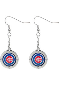 Chicago Cubs Womens Round Crystal Dangler Earrings - Blue