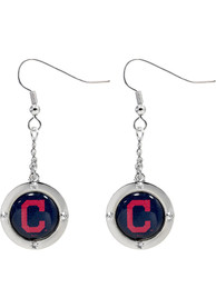 Cleveland Indians Womens Round Crystal Dangler Earrings - Red