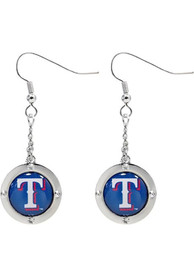 Texas Rangers Womens Round Crystal Dangler Earrings - Red