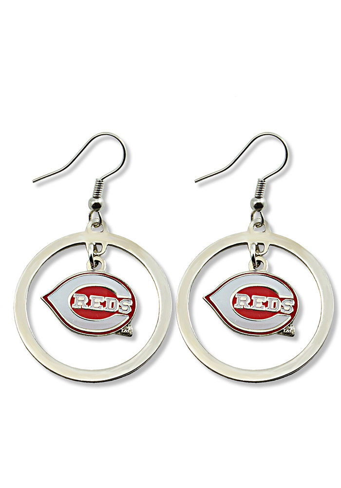 Cincinnati Reds Floating Hoop Womens Earrings - Image 1