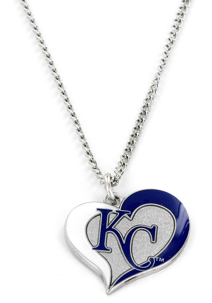 Kansas City Royals Womens Swirl Heart Necklace - Blue