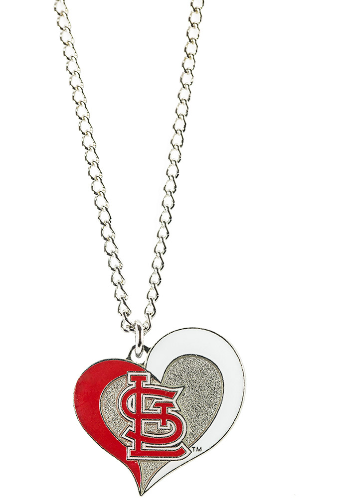 St Louis Cardinals Swirl Heart Necklace - Image 1