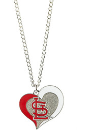 St Louis Cardinals Womens Swirl Heart Necklace - Red
