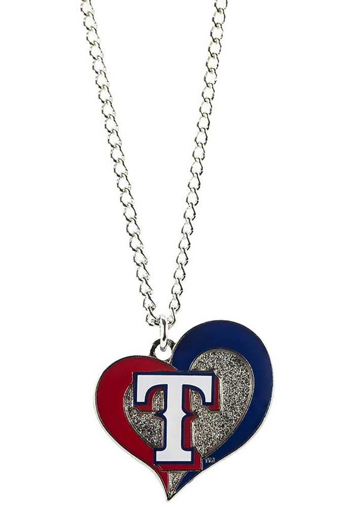Texas Rangers Swirl Heart Necklace - Image 1