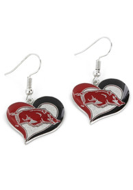 Arkansas Razorbacks Womens Swirl Heart Earrings - Red