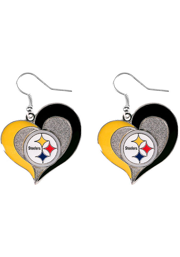 Pittsburgh Steelers Swirl Heart Womens Earrings - Image 1