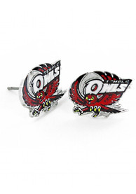 Temple Owls Womens Logo Post Earrings - Red