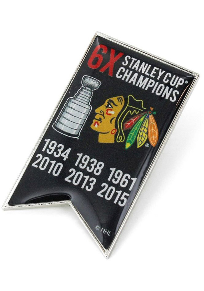 Chicago Blackhawks Souvenir Stanley Cup Champions Banner Pin - Image 1